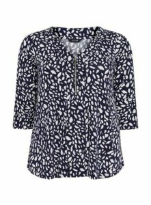 Navy Blue Abstract Print Zip Detail Top, Navy