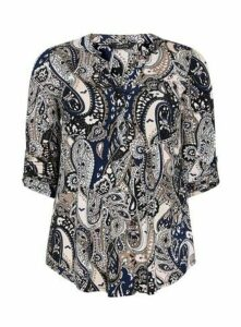 Navy Blue Paisley Print Jersey Shirt, Navy