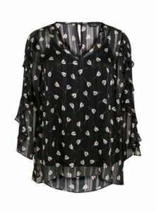 Black Floral Ruffle Sleeve Top, Black