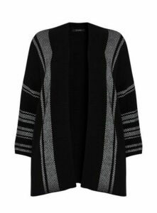 Black And White Textured Cardigan, Black