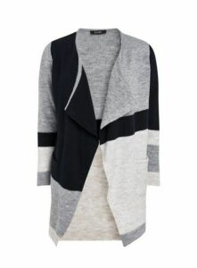 Navy Blue Colour Block Waterfall Cardigan, Navy