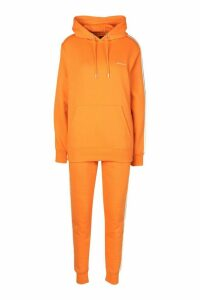 Womens Woman Side Stripe Hoodie Tracksuit - Orange - 8, Orange