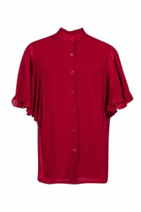 Womens Woven Ruffle Sleeve Tunic Blouse - Red - 10, Red