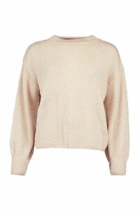 Womens Oversized Balloon Sleeve Popcorn Textured Jumper - White - L, White