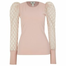 River Island Womens Petite Pink textured mesh long sleeve top