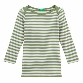 Striped Cotton T-Shirt with Long Sleeves and Boat-Neck