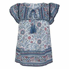Floral Print Cotton Blouse with Tie-Neck