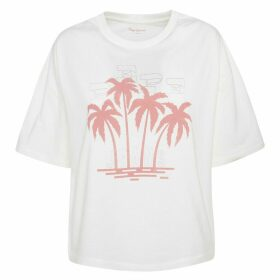 Cotton Print Front T-Shirt with Short Sleeves