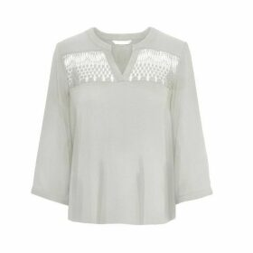 V-Neck Blouse with Lace Detail and 3/4 Length Sleeves