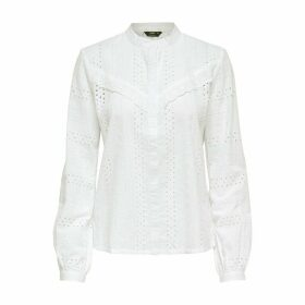 Cotton High-Neck Blouse in Broderie Anglaise