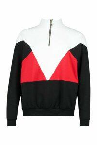 Womens Colour Block Half Zip Jumper - Black - 14, Black