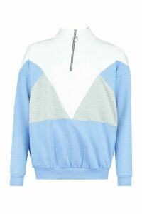 Womens Colour Block Half Zip Jumper - Blue - 14, Blue