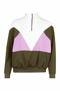 Womens Colour Block Half Zip Jumper - Green - 14, Green