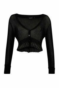 Womens Pointelle Cropped Button Cardigan - black - M, Black