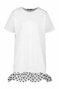 Womens Polka Dot Mesh Drop Hem T-Shirt Dress - white - 18, White