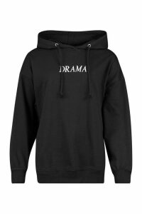Womens Oversized Embroidered Slogan Hoodie - Black - 10, Black