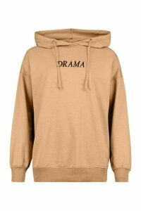 Womens Oversized Embroidered Slogan Hoodie - Beige - 6, Beige