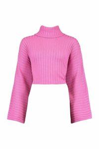Womens Crop Roll Neck Batwing Jumper - Pink - M, Pink