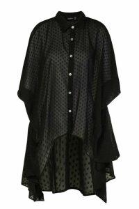 Womens Dobby Chiffon Oversized Maxi Shirt - Black - 10, Black