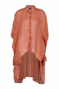 Womens Dobby Chiffon Oversized Maxi Shirt - pink - 14, Pink
