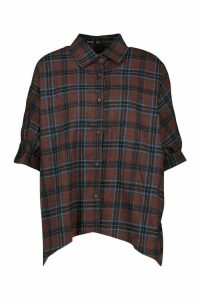 Womens Check Oversized Shirt - brown - 14, Brown