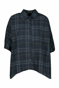 Womens Check Oversized Shirt - navy - 14, Navy