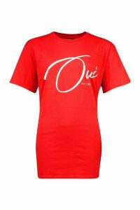 Womens Ma Cherie Slogan T-Shirt - red - M, Red