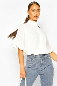 Womens Woven Ruffle Sleeve Tunic Blouse - White - 16, White