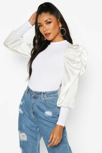 Womens Satin Puff Sleeve Ribbed Top - white - 14, White