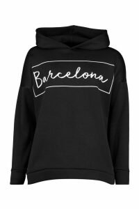 Womens Barcelona Oversized Hoodie - Black - 8, Black