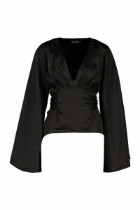 Womens Satin Tie Waist Flare Sleeve Blouse - black - 14, Black