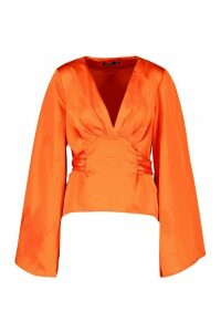 Womens Satin Tie Waist Flare Sleeve Blouse - Orange - 12, Orange