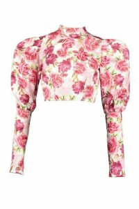 Womens Floral High Neck Puff Sleeve Tie Back Blouse - Pink - 16, Pink