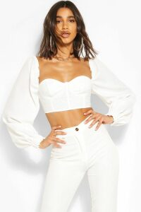 Womens Volume Puff Sleeve Dobby Mesh Corset Top - white - 16, White