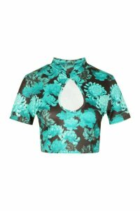 Womens Floral Print Manderin Collar Crop Top - Green - 12, Green