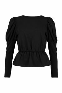 Womens Puff Sleeve Gathered Waist Top - black - 14, Black
