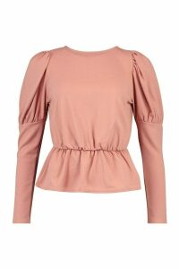 Womens Puff Sleeve Gathered Waist Top - Pink - 10, Pink