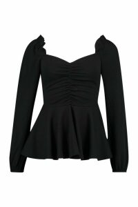 Womens Scuba Ruched Front Peplum Top - black - 12, Black