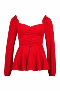 Womens Scuba Ruched Front Peplum Top - red - 16, Red