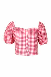 Womens Woven Gingham Button Through Top - Pink - 16, Pink