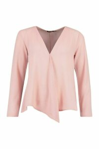 Womens Woven Long Sleeve Blouse - pink - 16, Pink