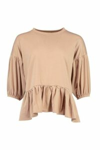 Womens Peplum Puff Sleeve Top - Beige - 12, Beige