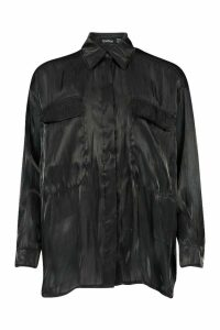 Womens Satin Pocket Detail Oversized Shirt - black - 14, Black