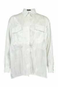 Womens Satin Pocket Detail Oversized Shirt - white - 12, White