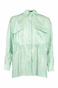 Womens Satin Pocket Detail Oversized Shirt - green - 14, Green