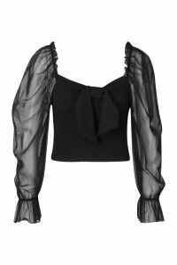 Womens Tie Front Detail Top With Mesh Sleeves - black - 14, Black