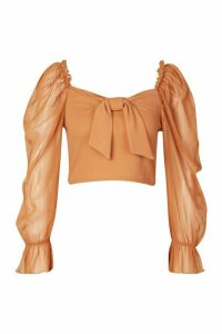 Womens Tie Front Detail Top With Mesh Sleeves - beige - 14, Beige