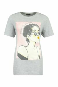 Womens Face Graphic T-Shirt - grey - M, Grey