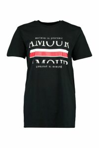 Womens Amour Stripe Slogan T-Shirt - black - M, Black