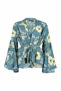 Womens Wrap Front Flare Sleeve Blouse - blue - 12, Blue